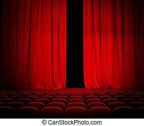 Cortina roja ligeramente abierta con asientos