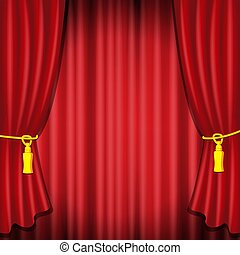 Cortina roja, vector realista de ilustración para teatro o escenario de ópera, concierto de estreno o estreno de cine. Cortinas rojas o cortinas portiere para la plantilla de diseño de ceremonias