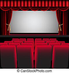 cortina, silla, vestíbulo, cine, rojo, fácil