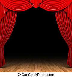 cortina, terciopelo, apertura, escena, rojo