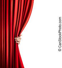 cortina, terciopelo, plano de fondo, vector, mano., rojo, illustration.