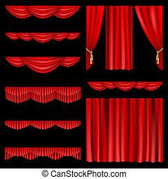 cortinas, rojo