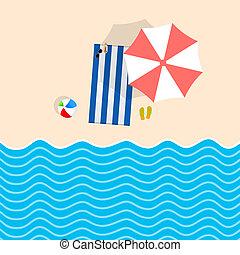 Cosas de playa con ilustraciones de caricatura de toallas