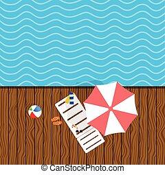 Cosas de playa con ilustraciones de mazorca