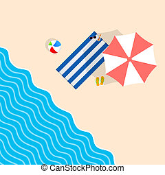 Cosas de playa con ilustraciones de ocio de toalla