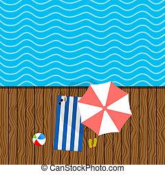 Cosas de playa con ilustraciones de toallas