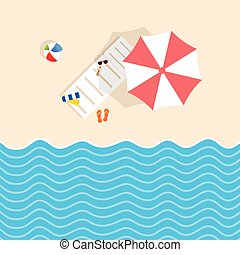 Cosas de playa con mazo y ilustración de paraguas