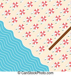 Cosas de playa con sillón y ilustración de ocio marino