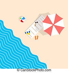 Cosas de playa con sillón y ilustración de ocio para paraguas