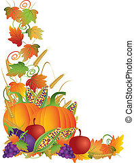 cosecha, acción de gracias, ilustración, vides, otoño, frontera