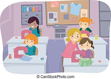 Cosiendo chicas de clase
