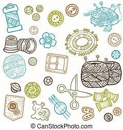 Cosiendo Kit Doodles, dibujando a mano elementos de diseño en vector