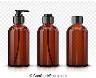 cosmético, botellas, aislado, plano de fondo, transparente, marrón