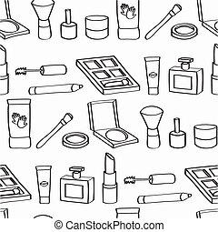 cosméticos, caricatura, seamless, azulejo