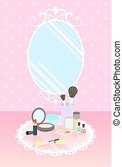 Cosméticos en alfombra de encaje y espejo en papel pintado de lunares rosa