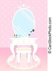 Cosméticos en la mesa de maquillaje en la habitación rosa con lunares