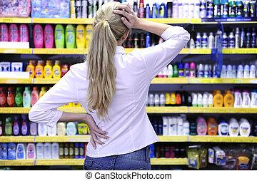 costumer, producto, compras, escoger, supermercado