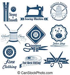 Costura de estilo antiguo y etiqueta de sastre