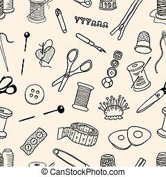 costura, kit, patrón