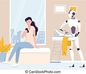 cothes., robot, housekeeping., planchado, robótico, housework.