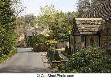 Cotswold cabañas en Snowshill, Gloucestershire, Inglaterra