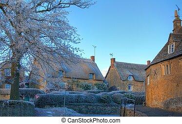 cotswold, invierno, aldea