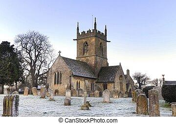 cotswold, invierno, iglesia
