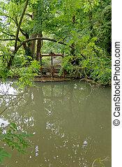 cotswold, río, burford, pueblo, inglaterra, -, windrush