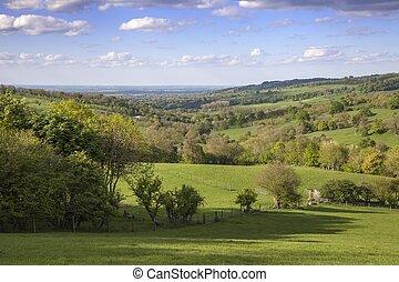 Cotswolds rurales cerca del pueblo de Snowshill, Gloucestershire, Inglaterra