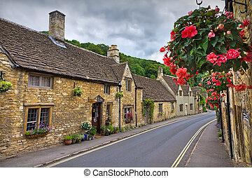 Cottages en peine del castillo, cotswolds, UK