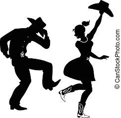 country-western, baile, silueta