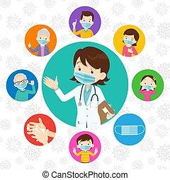 covid-19., médico, protector, doctor, familia , llevando, virus, máscara