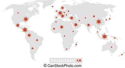 covid, pandemic., infected, vector, o, epidemic., diferente, ilustración, mundo, global, spread., gripe, coronavirus, enfermedad, 19, infección, bandera, países, mapa, información, virus, planeta