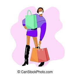 covid, seguro, marcas, purchases., máscara, plano, concepto, shopping., vector., coronavirus, niña, -19