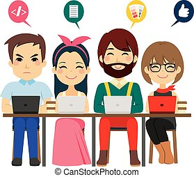 coworking, centro, equipo