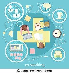 coworking, reunión, concept., empresa / negocio