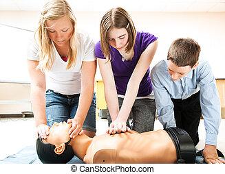 cpr, salvamento, practicar, estudiantes