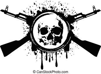 cráneo, akm, sangre