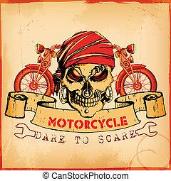 Cráneo con antecedentes de motocicleta vintage