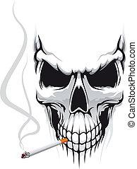 Cráneo con cigarrillo
