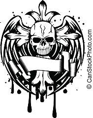 Cráneo con cruz y alas