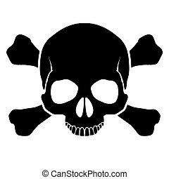 cráneo, crossbones.