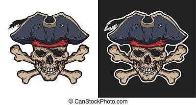cráneo, crossbones., pirata