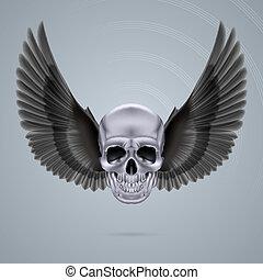 Cráneo de cromo metálico con dos alas