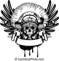 Cráneo de imagen vector en casco y espada cruzada