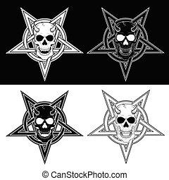 cráneo, entrelazar, demoníaco, cinco, puntiagudo, diseño, nombre: