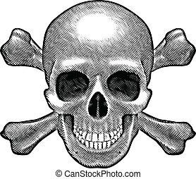 cráneo, figura, crossbones