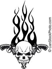 cráneo humano, arma de fuego