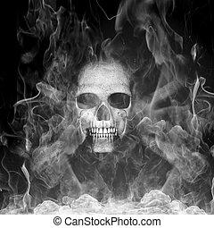 Cráneo humano con humo