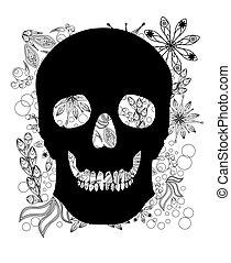 Cráneo humano en antecedentes florales. Ilustración de vectores